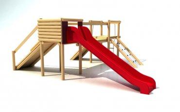 Hrad se skluzavkou, řetězovou sítí, provazovým žebříkem a šikmým chodníkem, výška podesty 1,0 m - P13a