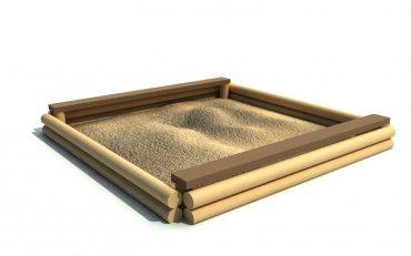 Pískoviště z plných kůlů a s 2-ma sedáky, rozměry 3 m x 3 m výška 0,25 m - S1b