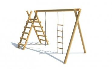 Konstrukce s provazovým žebříkem, žebříkem a lanem - H8