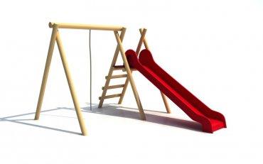 Konstrukce s houpacím lanem a skluzavkou, výška skluzavky  1,4 m, déĺka 290 cm - H6c