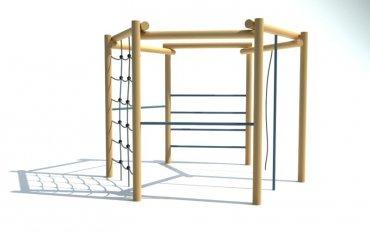Šestiúhelníková cvičná stěna 2x hrazda, šplhací lano, žebřík, řetězová síť, šplhadlo, výška 2,1 m - P10