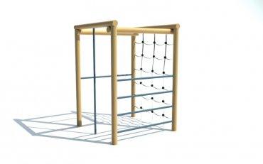 Čtvercová cvičná stěna, hrazda, šplhadlo, žebřiny, řetězová síť, výška 2,1 m - P14