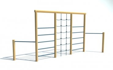 Kombinovaná cvičná stěna 2x hrazda, 2 x žebřík, řetězová síť, výška 2,1 m - P11