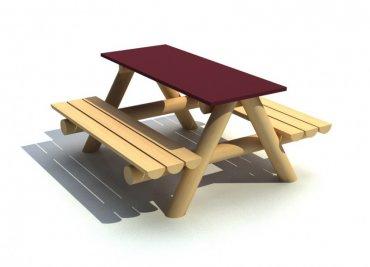 Stůl se dvěma lavicemi pro 6-8 dětí, stolní deska 1250 x 500 mm - L5