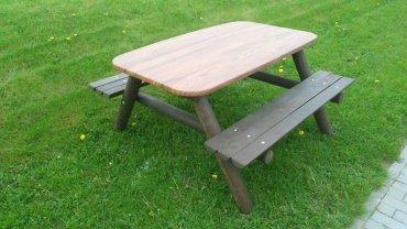 Stůl se dvěmi lavicemi pro 8 - 10 dětí deska stolu 1550 x 900 mm - L8